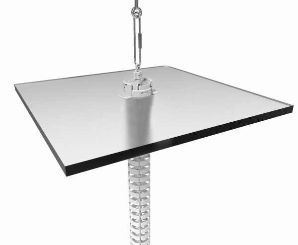 Cirqlate 2800mm Floor-Ceiling Kit With Ceiling Flange, Hanging Wire (CQC), Top Hook (CQH), Round Disk Base