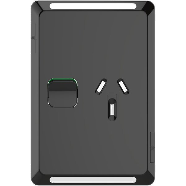 Cover Skin, 1 Switch & 1 Socket, 10A, Vertical, Black, Pro Series
